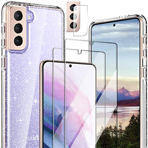 Hocase for Galaxy S21 Case, (with 2 Screen Protectors + 1 Camera Protector) Shockproof Soft TPU+Hard Plastic Full Body Protective Case for Samsung Galaxy S21 5G (6.2' Display) 2021 - Clear/Glitter