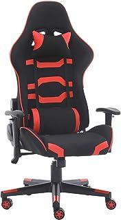 GroBKau Sillas de juegos para adultos y niños, estilo de piel, silla reclinable con reposacabezas y almohada lumbar (rojo)