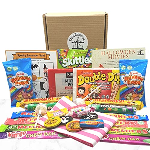 Halloween Sweets Hamper Box with Vegetarian Classic and Trick or Treat Retro Sweets & Popcorn to Share in 2 Stripy Bags. Halloween Movie Night Favourites list and Spooky Scavenger Hunt Game.