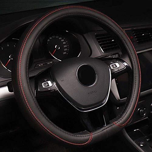 Housse de volant de voiture 38 cm de type D à fond plat en cuir synthétique (noir et rouge)