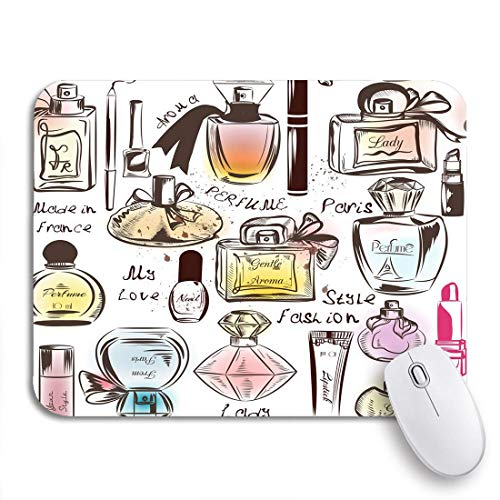 Gaming Mouse Pad Rosa Hautmuster Verschiedene Parfums Aquarell Pflege Glamour Paris Rutschfeste Gummiunterlage Mousepad für Notebooks Computer Mausmatten