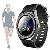 Smart Watch for Android Phones with SD SIM Card Slot Touch Screen Watch Phone with Camera Pedometer Compatible with iPhone Facebook Twitter Whatsapp for Men Women (Black)