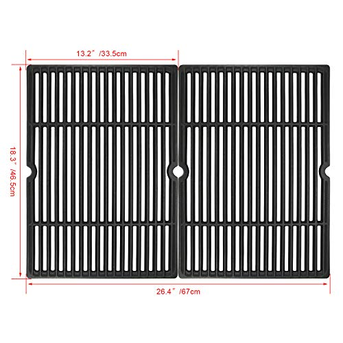 Uniflasy Porcelain Coated Cast Iron Grill Cooking Grid Grates for Charbroil 463243911, 463244011, 463257010, 463268007, Master Forge GGP-2501, Uniflame GBC750W, Coleman, Kenmore, Thermos