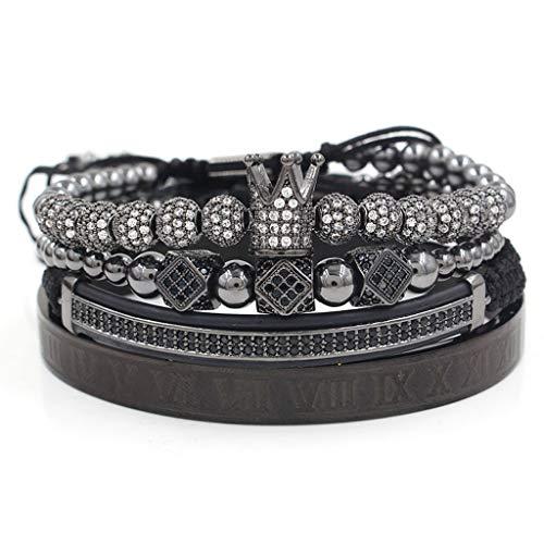 BELTI Pulsera, Imperial Crown King Pulsera Luxury Charm Numeral Romano CZ Zircon Kit de Pulsera