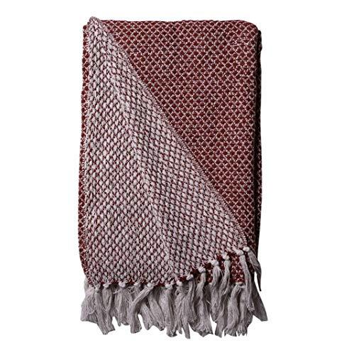 AU Maison Decke Rot Weiß Baumwolle Plaid 130x180 Wolldecke Kuscheldecke