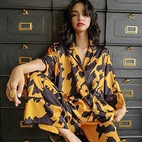 STJDM Bata de Noche,Pijama Amarillo Vintage francés para Mujer Conjunto de Traje de Ropa de casa de Seda Mujer otoño Ropa de Dormir de Manga Larga Ropa de Dormir S Amarillo