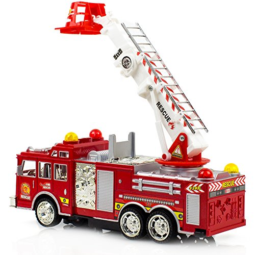 Toysery Fire Truck Toy, Extending Rescue Rotating Ladder Friction Power Lights