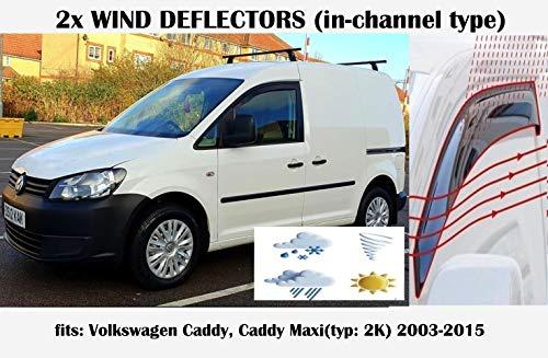Mrp Set di 2 deflettori d\'Aria   Tipo in-Channel   Compatibile con deflettori finestrini Volkswagen Caddy (Tipo 2K) 2003 2004 2005 2006 2007 2008 2009 2010 2011 2012 2013 2014 2015 in Vetro Acrilico