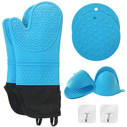 Silicone Oven Mitts and Pot Holders Sets (Pack of 8), Heat Resistant Oven Mitts with Quilted Liner, Mini Oven Gloves and Hot Pads Pot Holders for Kitchen Cooking Baking, BBQ Gloves