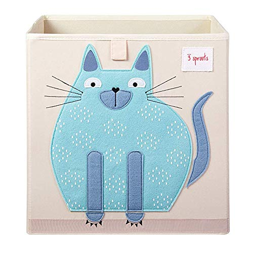 3 Sprouts Large 13 Inch Square Children's Foldable Fabric Storage Cube Organizer Box Toy Bin, Blue Cat, Pet Hedgehog, Pink Unicorn, and Yellow Rhino