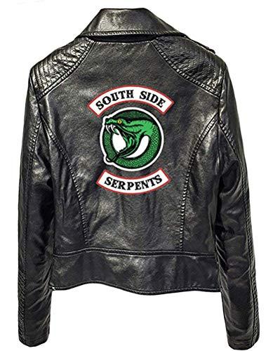 Yesgirl Riverdale Pullover Frauen Personality Trendy PU Lederjacke Faux Lederjacke Gutaussehend Jacke Unisex Schwarz B Medium