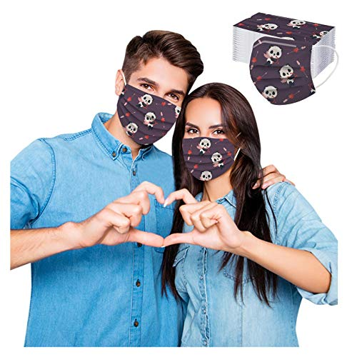 Koippimel 50Pcs, Valentine's Day Disposable Face_Mask for Couple, Cute Heart Printed Breathable_Masks, 3-Layers High Filtration Non-Woven for Women Men Full Protection, 1115 Style_021