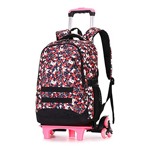 LINLIN Children Luggage Backpacks, Carry On Large Capacity Trolley Suitcase, Kids Deluxe Lighweight Backpack And Boys Removable Rolling Bag,Red-Six wheels