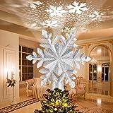Avoalre Luz LED para �rbol de Navidad con Proyector LED de Copo de Nieve Giratorio Proyector Luces Decoración árbol de Navidad para Hogar Oficina Bar Hotel - Plata