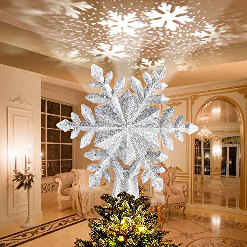 Avoalre Étoile Sapin de Noël 3D Projecteur LED Arbre Topper de Noël Lumineuse Rotatif Flocon de Neige Pointes de Sapin Decoration - Argent