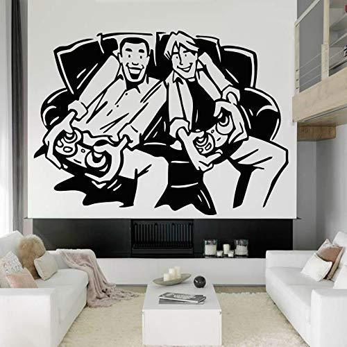 Tianpengyuanshuai muurstickers, zelfklevend, 2 jongens, gamer, videospel, jongens, slaapkamer