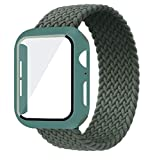 MOODER Coque + bracelet pour Apple Watch 44 mm, 40 mm, 42 mm, 38 mm Bracelet en nylon tressé pour...