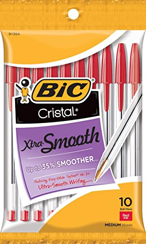 10-Count BIC Cristal Xtra Smooth Medium Ballpoint Pen (1.0mm, Red) -$0.97(79% Off)