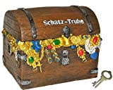 alles-meine.de GmbH Spardose  Schatztruhe / Schatzkiste  - mit Schlüssel - stabile Sparbüchse für die Reisekasse aus Kunstharz - Pirat Geld Sparschwein Schatzsuche Piraten - Sc..