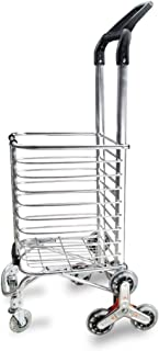 LQBDJPYS Climbing Stairs Shopping Cart Trolley with Adjustable Handle, Tri-Wheel Household Vans Lightweight Collapsible La...