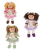 Betz Set de 3 muñecas de Trapo para niños Camilla tamaño Aprox. 30 cm