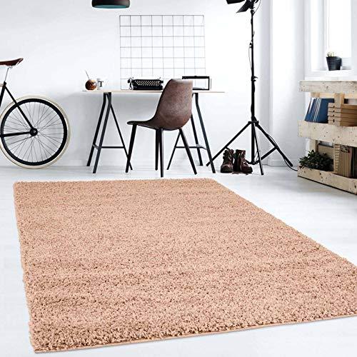 Hochflor Teppich | Shaggy Teppich fürs Wohnzimmer Modern & Flauschig | Läufer für Schlafzimmer, Esszimmer, Flur und Kinderzimmer | Langflor Carpet beige 080x150 cm