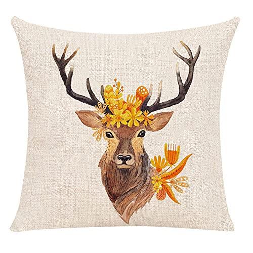 Juego de Fundas de cojín de 2 Hojas Amarillas y Lino de algodón de Ciervo de 45x45 cm para Sala de Estar, Dormitorio, sofá, sillón