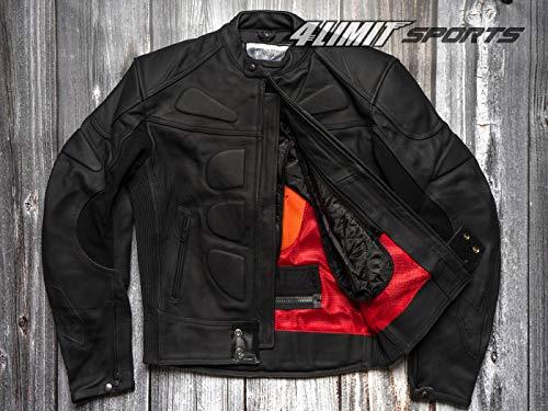 4LIMIT Sports Herren Motorradjacke Leder STREETBANDIT Biker Rocker Motorrad Jacke Lederjacke matt schwarz