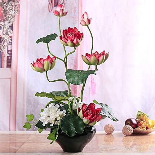 xgruisi Flores Artificiales Lotus Lotus Buddha En El Bote Ramo De Decoración para El Hogar con...