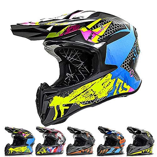 ZJRA Motocross Helm, Motorradhelm, Erwachsene Absturz Crosshelm, Downhill, Off Road, Scooter, Dirt Bike, Elektro Fahrrad, Moped, Geschenk,5,XL
