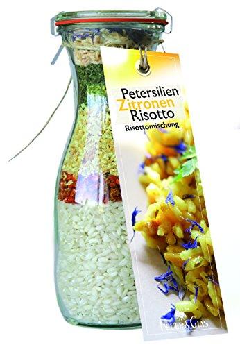 Gourmet Fertigmischung für Petersilien Zitronen Risotto – Raffinierte Rezeptideen im Glas für leckere Gerichte – Risotto-Reis mit Gemüse und Kräutern zum Kochen oder Verschenken – von Feuer & Glas