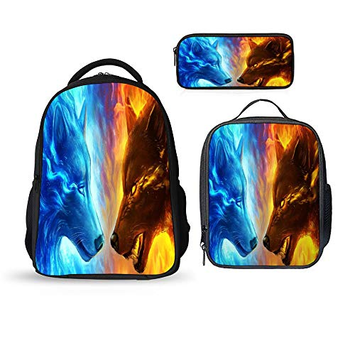 SARA NELL Fire And Ice Wolf Backpacks 3Pcs For Boys Girls School Kids Backpacks With Lunch Bag&Pencil Case