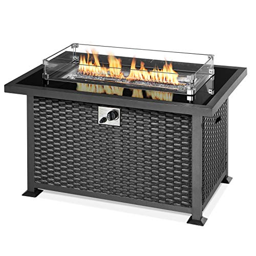 U-MAX 44in Outdoor Propane Gas Fire Pit Table, 50,000 BTU Auto-Ignition Gas...