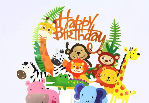 Regendeko 15er Happy Birthday Tiere Waldparty Girlande Kuchendekoration Cake Toppers Geburtstagskuchen Deko…