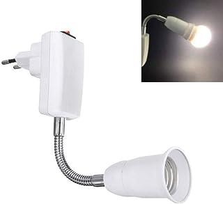 Portalámparas E27 con Interruptor y Enchufe-EU, 360° Grados con Brazo Flexible, Portalámparas E27 sin Cable para Lámpara de Pared, Lámpara de Trabajo, Luz de Cocina, Blanco (sin bombilla)