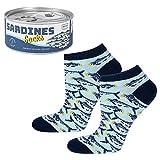 soxo lustige Damen Sneaker Socken Baumwolle | Bunte Witzige Gemusterte Socken mit Sardinen | Größen 35-40 | Gift box Verpackung Konservendose | Geschenkidee | Socken mit Essensmotiv