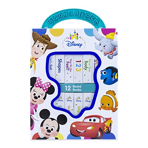Disney Baby Mickey Mouse, Minnie, Toy Story and More! - My First Library Board Book Block 12-Book Set - First Words, Shapes, Numbers, and More! - PI Kids