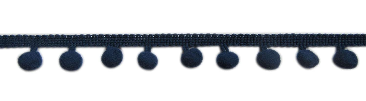 XiXiboutique 18 Yards Ball Fringe Pom Pom Trim Ribbon Sewing(Pom Ball Size 12mm,Navy)