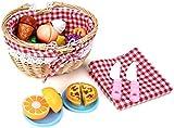 Cesta de picnic de mimbre con tapa, cesta de almacenamiento de mimbre, caja de almacenamiento de cosecha pastoral hecha a mano, huevos artesanales de mimbre tejido