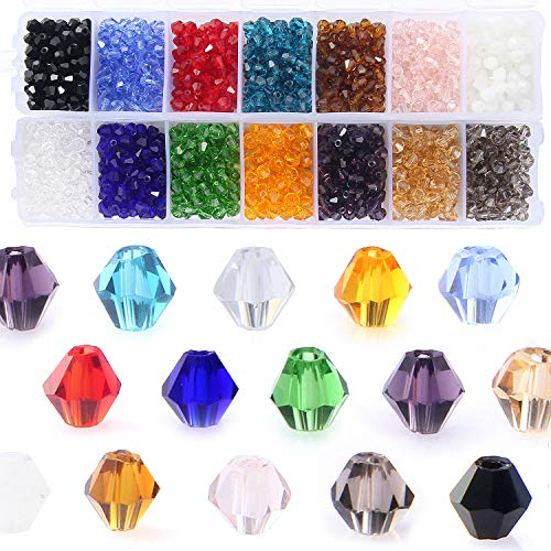 Bicone Crystal Beads Bulk Beaded-Wholesale 4MM Beads Mix Lot of 1400pcs Faceted...
