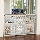 North States Mypet Paws 40' Portable Pet Gate: Expands & Locks In Place with No Tools. Pressure Mount. Fits 26'- 40' Wide (23' Tall, Light Gray)