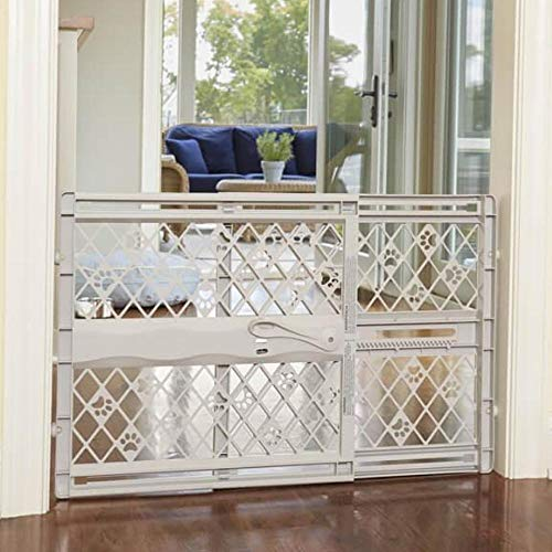 North States MyPet Paws 40' Portable Pet Gate: Expands & locks In place with no tools. Pressure Mount. Fits 26'- 40' wide (23' tall, Light Gray) (8871)