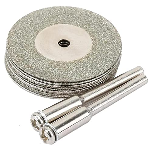 Froiny 10 Unids/Set Discos Corte Diamantes 30 Mm +2 Pcs Arbor Blade Blade Accesorios Broca Herramienta Rotativa