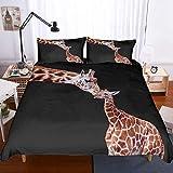 556 MIO Christmas Animal Bedding Set Queen 3D Printed Giraffe Mom Kissing Giraffe Baby Duvet Cover Set for Kids Children Boys Girls 3 Piece(1 Duvet Cover 2 Pillow Sham) No Comforter Black