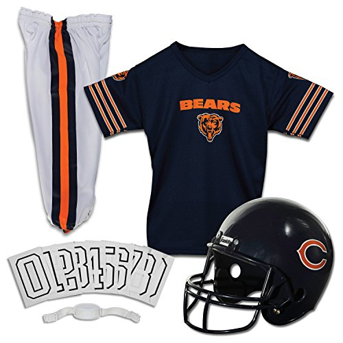 Franklin Sports Chicago Bears Kids Football Uniform Set - NFL Youth Football Costume for Boys & Girls - Set Includes Helmet, Jersey & Pants - Medium