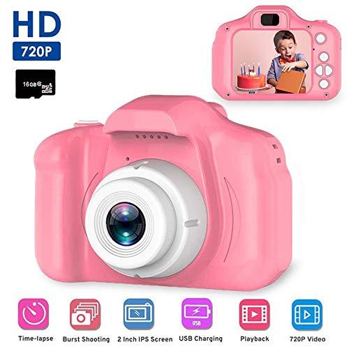 Digitale Kamera für Kinder, Womdee Mini Farbdisplay 8 Megapixel Kinderkamera 1080P HD Kinder Digital-Camcorder für Baby Geschenk Spielzeug 3 4 5 6 7 8 Jahre (Pink, mit 16GB TF-Karte)