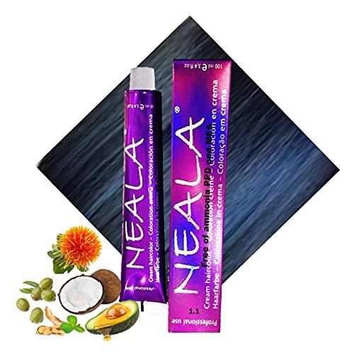 Tintura professionale colorazione per capelli SENZA AMMONIACA, PPD o MEA - 1.1 - NERO METALLICO - NEALA 100ml.