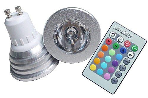FARO RGB LAMPADA FARETTO GU10 MULTICOLORE 3W LED TELECOMANDO CROMOTERAPIA COL