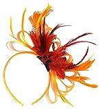 Tocado para el pelo con plumas, color naranja y rojo