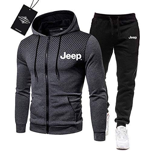 BOLGRTYXC de Los Hombres Chandal Conjunto Trotar Traje Je-Ep.s Hooded Zipper Chaqueta + Pantalones Deporte R Deportes/Gray/XXXL